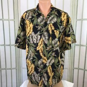 Jos. A Bank Men's Button Front Silk Aloha Floral L